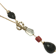 Green Amethyst Red Mediterranean Coral Black Onyx Lariat Style Necklace with Matte Gold Plate Chain