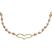 Natural Color Pink Freshwater Cultured Pearls Necklace with Gold Plate Pave Crystal Heart
