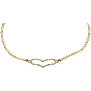 Apricot Seed Pearl Necklace with Gold Plate Crystal Pave Heart