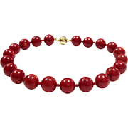 Rare Large 18mm Oxblood Red Round Coral Bead Choker Necklace with Gold Vermeil Sterling Silver Ball Clasp