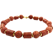 Gorgeous Large 18mm Natural Orange and Red Sponge Coral Choker Necklace with Crystal Studded 18k Gold Plate Clasp