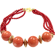 Exceptional 25mm Orange Bamboo Coral and Multi Strand Red Coral Choker Necklace with Vintage Gold Vermeil Sterling Silver Abacus Shape Bead and Clasp