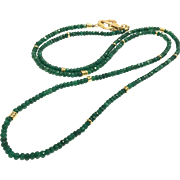 "35"" Long 3mm Faceted Emerald Beads Necklace Dark Green with Vintage 22K Gold Vermeil Sterling Silver Clover Toggle Clasp"
