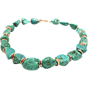 Large Real Natural Turquoise Nugget Bead Necklace with Rose Gold Plate Clasp and Spacers