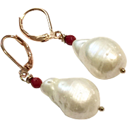 Baroque Freshwater Cultured Pearl and Coral Dangling Earring on Rose Gold Plate Hook