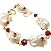 Huge 25mm Baroque Freshwater Cultured Pearls and Coral Bracelet Like South Sea Pearl Size 18K Gold Vermeil Sterling Silver Heart Clasp