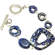 Unique Snowflake Pattern Lapis Lazuli Bracelet with Non-Tarnish Platinum Plate Clasp