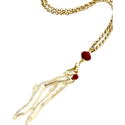 Long Branch Shape Freshwater Cultured Pearl and Red Coral Bead Necklace Matte Gold Plate Chain