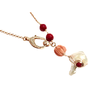 Large 20mm Baroque Freshwater Cultured Pearl and Coral Lariat Style Necklace with Rose Gold Plate Chain and Pave Crystal Clasp
