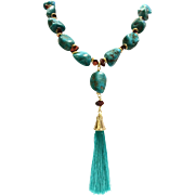 "24"" Real and Natural Turquoise and Garnet Necklace with Tassel"