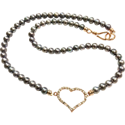 """18"""" Black Peacock Color Freshwater Cultured Pearls Necklace with Rose Gold Crystal Heart"""