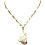 Large 20mm Baroque Freshwater Cultured Pearl with Hand Wired Coral Bead Pendant on Anti-Tarnish Gold Plate Chain