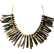 Natural Hawaiian Black and Gold Coral Branch Necklace with Seed Pearls