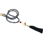 Long Peacock Blue Black Freshwater Cultured Necklace with Baroque Pearl and Tassel
