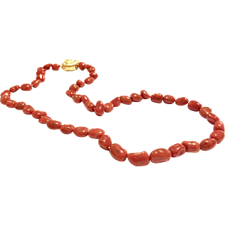"20"" Real and Natural Salmon Red Italian Mediterranean Coral Nugget Beads Necklace with a 18K Gold Vermeil Sterling Silver Conch Shape Snap Clasp"