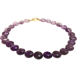 Graduated Shaded Lavender to Purple Amethyst Choker Necklace with Crystal Pave Gold Plate Lobster Clasp