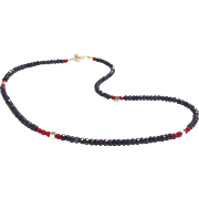 Blue Sapphire and Red Coral Beads Necklace Sterling Silver Clasp