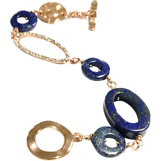 Blue Lapis Lazuli Bracelet with Rose Gold Plate Crystal Pave  Links and Clasp