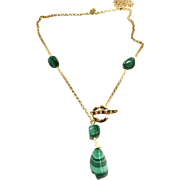 Lariat Style Malachite Necklace in Gold Plate Chain and Toggle