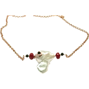 Large 25mm Baroque Freshwater Cultured Pearls Necklace Hand Wrapped Red Coral and Black Onyx Rose Gold Plate Necklace