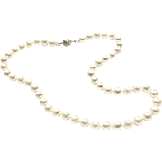 Good Quality 8-8.5mm Freshwater Cultured Pearl Necklace like Akoya with Sterling Silver Clasp