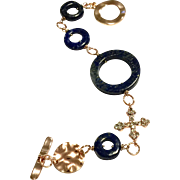 Blue Lapis Lazuli Loops Bracelet with Crystal Cross and Rose Gold Plate Clasp