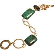 Blue Green American Turquoise and Smoky Quartz Bracelet with Crystal Infinity Loop and Rose Gold Plate