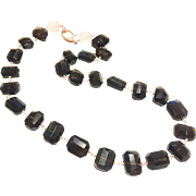 Dark Smoky Quartz and Rose Quartz Hand Wrapped Necklace with Rose Gold Plate Micro  Pave CZ Clasp