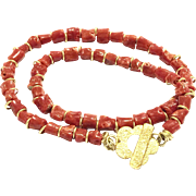 "18"" Real and Natural Salmon Red Italian Mediterranean Coral Branch Nugget Beads Necklace with a 18K Gold Vermeil Sterling Silver Flower Toggle Clasp"