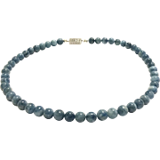 8mm Darker Zambian Blue Natural Aquamarine Bead Necklace with Non-Tarnish Platinum Plated Pave Crystal Clasp