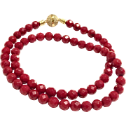 6mm Faceted Red Coral Beads Choker Necklace with Gold Plate Pave CZ Magnetic Ball Clasp