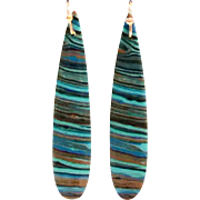 Striking Slender Rainbow Jasper Earring Turquoise & Dark Blue  on Rose gold Plate Ear wire
