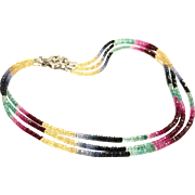 Triple Strands 100ct Sapphire Faceted 3mm Beads Necklace in Shaded Multi-Color Blue Pink Ruby Yellow Green - Sterling Silver CZ Pave Clasp