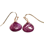 15.5ct Untreated Natural Ruby Dangling Earring on Rose Gold Plate Ear Wire