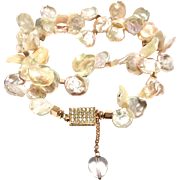 Large 18mm Pink Keshi Petal Freshwater Cultured Pearls Necklace Rose Gold Plate
