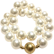 Large 16mm White South Sea Shell Pearl Matte Gold Magnetic Clasp