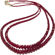 New Vintage Double Strand Ruby Beads Necklace 14k White Gold Clasp