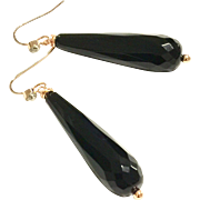 Long Dangling black onyx earring on rose gold plate ear wire