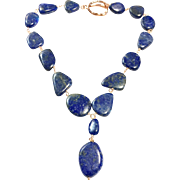 Large Blue Lapis Lazuli Necklace Rose Gold Plate Hand Wired
