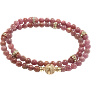 Pinkish Red Untreated Ruby Bead Necklace - July Birthstone