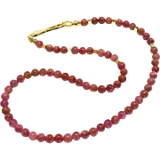 Natural Untreated Ruby Beads Necklace With Gold Vermeil Sterling Silver Clasp