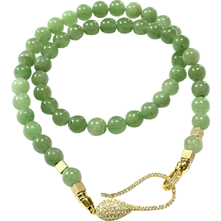 Natural Untreated Light Apple Green Jadeite Jade Beads Necklace Gold Vermeil Sterling Silver Clasp