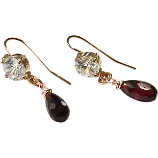 Faceted Briolette Garnet Earring Rose Gold Plate Ear Wire