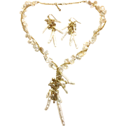 Bouquet of Pearl Flowers - White & Gold Freshwater Keshi Petal & Branch Pearls Necklace and Earring Set