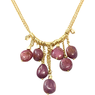 Dangling Untreated Natural Ruby Pebbles on Matte and Shiny Gold Plate Chain