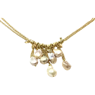 Natural Pastel Color Baroque Freshwater Cultured Pearl Dangling Necklace