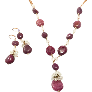 Natural Untreated Rubies and White Moonstones Hand Coiled Necklace and Earring Set