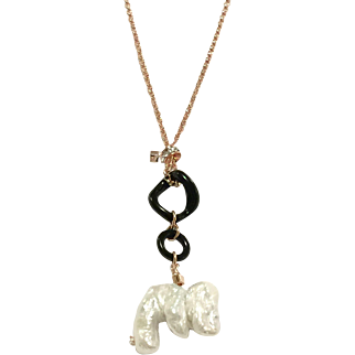 Art Deco Style Large Biwa Pearl and Black Onyx Pendant Necklace on Rose Gold Plate Chain