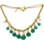 Green Onyx and Pink Pearl Matte Gold Plate Necklace