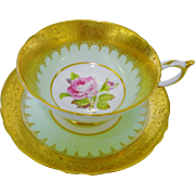 Paragon Gold etch rose teacup duo, pastel lime